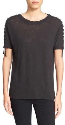 Women's Iro 'Steiro' Lace-Up Sleeve Linen Tee $267 thestylecure.com