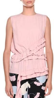 Marni Sleeveless Ruffled-Waist Silk-Woven Blouse