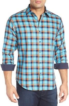 Men's Bugatchi Shaped Fit Plaid Sport Shirt $149 thestylecure.com