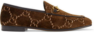 Gucci Jordaan Horsebit-detailed Leather-trimmed Logo-jacquard Loafers - Brown