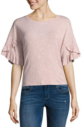 BELLE + SKY Short Sleeve Crew Neck Knit Blouse