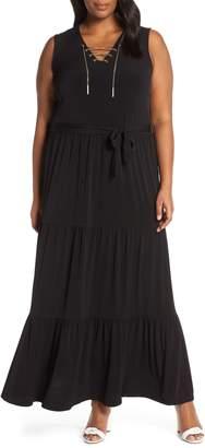 MICHAEL Michael Kors Lace Up Stretch Knit Maxi Dress