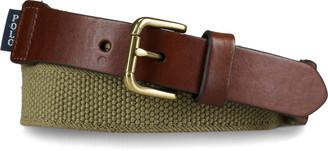 Ralph Lauren Webbed-Cotton and Leather Belt