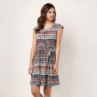 Women's LC Lauren Conrad Abstract Stripe Pleated Shift Dress $60 thestylecure.com