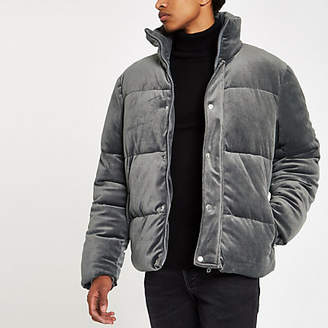 River Island Grey velvet funnel neck puffer jacket