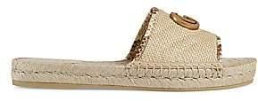 Gucci Women's Pilar Straw Espadrille Slides Sandals