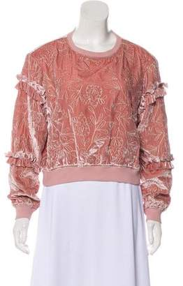 Cinq à Sept Velvet Embroidered Long Sleeve Sweater