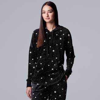 Vera Wang Women's Simply Vera Hooded Plush Pajama Top