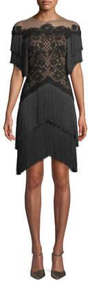 Tadashi Shoji Short Dress w/ Lace Bodice & Fringe Skirt