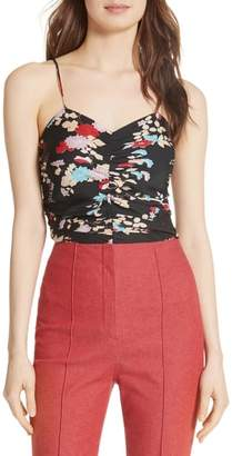 Diane von Furstenberg Sleeveless Ruched Floral Stretch Silk Bodysuit