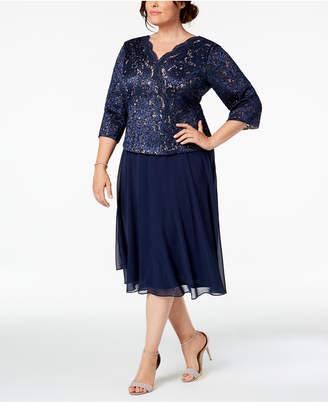 Alex Evenings Plus Size Sequined Lace Midi Dress