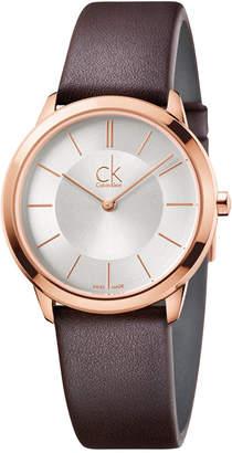 Calvin Klein minimal Unisex Swiss Minimal Brown Leather Strap Watch 35mm K3M226G6