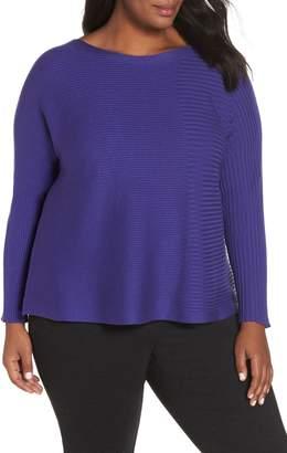 Eileen Fisher Mix Rib Cotton & Silk Blend Sweater