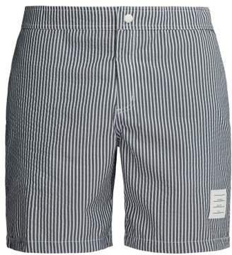 6116b33bae6 Thom Browne Logo Patch Striped Seersucker Swim Shorts - Mens - Navy