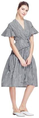 Lela Rose Coated Plaid Flutter Sleeve V-Neck Dress
