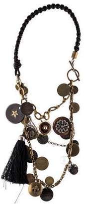 Lanvin Faux Pearl, Crystal & Coin Charm Necklace