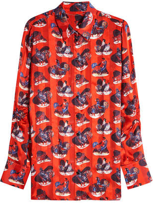 Carven Rooster Print Silk Blouse