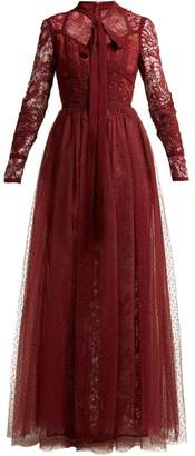 Elie Saab Pussy Bow Chantilly Lace And Tulle Gown - Womens - Burgundy