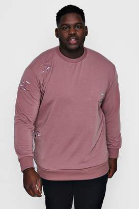 boohoo Big And Tall Crew Neck Distressed Sweater