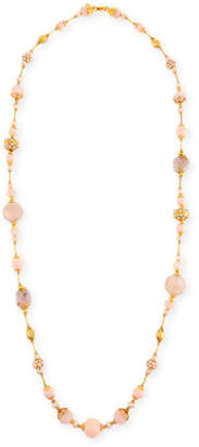 Jose & Maria Barrera Mixed Rose Quartz & Crystal Pave Long Beaded Necklace