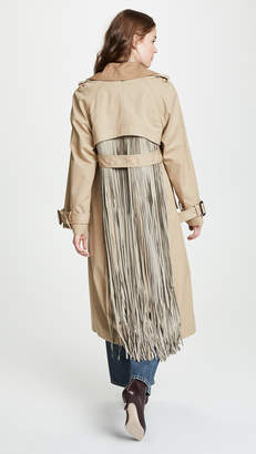 ADAM by Adam Lippes Fringe Back Trench Coat