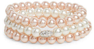 Cezanne Faux Pearl and Crystal Multi-Row Bracelet