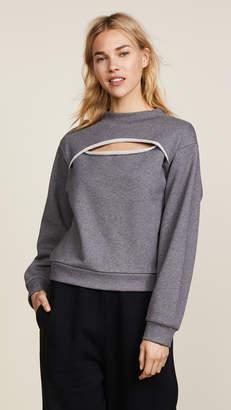 Alexander Wang Slit Front Long Sleeve Sweatshirt
