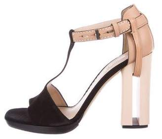 Reed Krakoff Suede T-Strap Sandals
