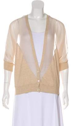 Haute Hippie Silk-Blend Semi-Sheer-Accented Cardigan