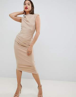 Asos (エイソス) - Asos Design ASOS DESIGN midi pencil dress with tuck detail