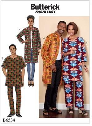 Butterick Pattern Misses'/Men's Coat, Tunic and Pants-XLG-XXL-XXXL
