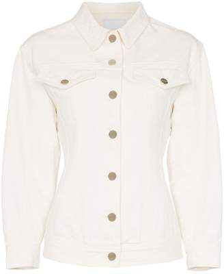 Gold Sign the pinched waist structured shoulder denim jacket