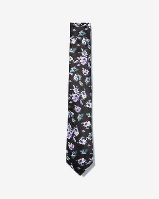 Express Narrow Floral Print Silk Tie
