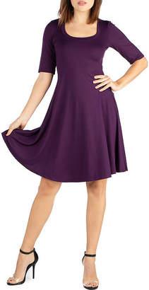 24/7 Comfort Apparel 3/4 Sleeve A-Line Dress