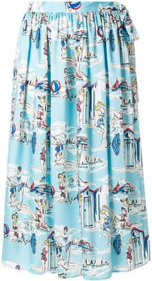 Blugirl beach print high-waisted skirt