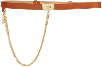 Givenchy Chain-Embellished Leather Belt Size: 65 cm