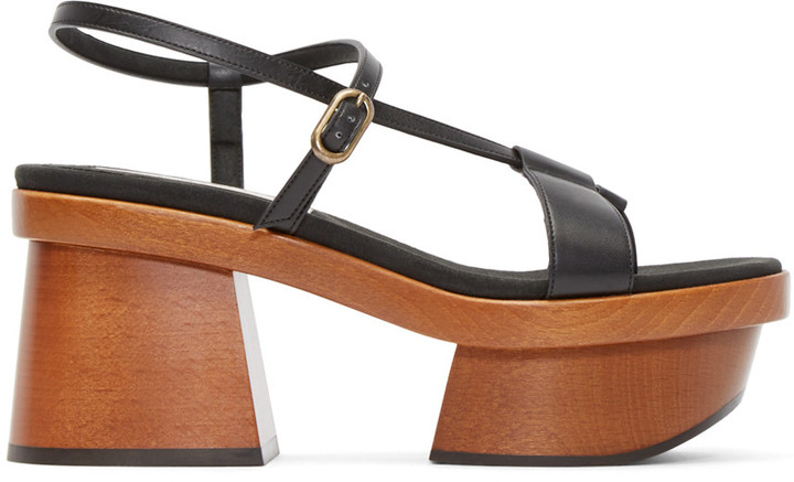Stella McCartney Black Wood Platform Sandals