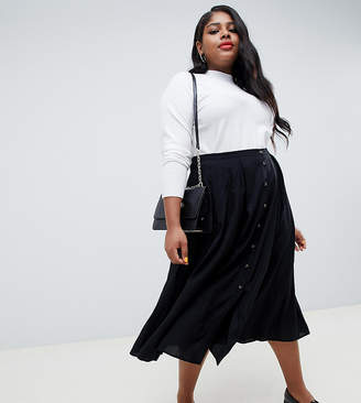 d0ac789cd9fb1 Asos DESIGN Curve button front floaty midi skirt with box pleats