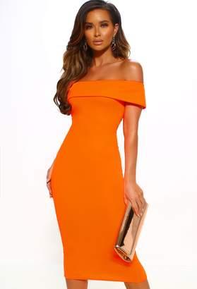 Pink Boutique The O.C Neon Orange Bardot Bodycon Midi Dress