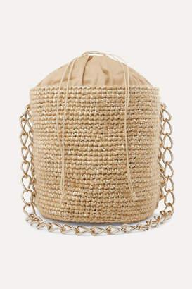 Carolina Santo Domingo Small Woven Mohair And Raffia Bucket Bag - White