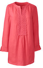 Lands' End Women's Bracelet Sleeve Linen Tunic Top-Fresh Melon $69 thestylecure.com