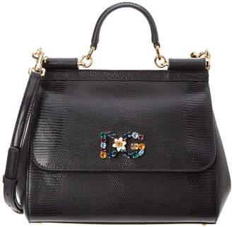 Dolce & Gabbana Sicily Medium Stampa Iguana Leather Satchel