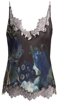 Carine Gilson Lace Trimmed Silk Satin Camisole - Womens - Navy Multi