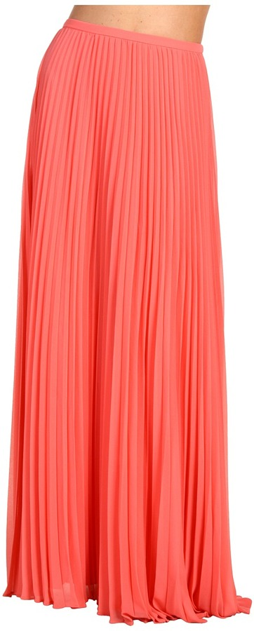 Halston Heritage - Long Pleated Skirt (Salmon) - Apparel
