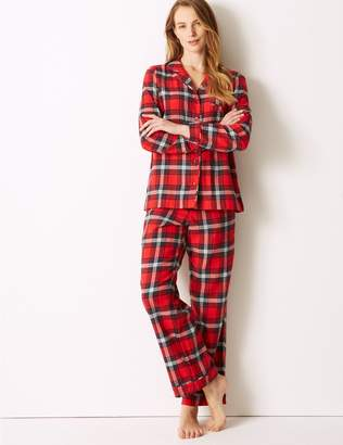 Marks and Spencer Pure Cotton Checked Long Sleeve Pyjama Set