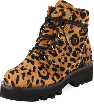 Tabitha Simmons Neir Lace-Up Lug-Sole Booties, Leopard