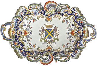 One Kings Lane Vintage Heraldic Coat of Arms Antique Platter - Vermilion Designs