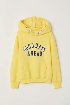 H&M Printed Hooded Sweatshirt - Yellow