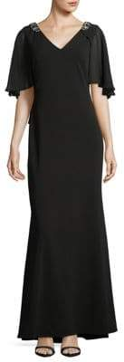 Eliza J V-Neck Cape Gown