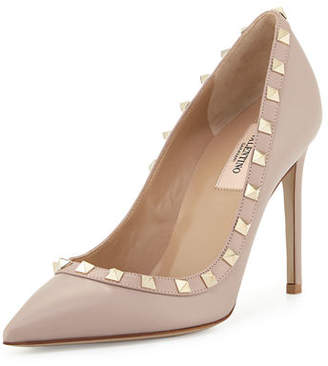 Valentino Rockstud Leather 100mm Pump, Powder (Poudre) $825 thestylecure.com